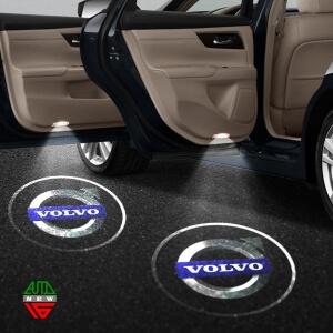 Лазерная проекция с логотипом Volvo