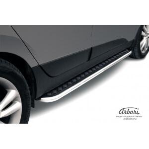 """Пороги с листом Hyundai ix35 2010 – 2015 (чёрный """"квинтет"""")"""