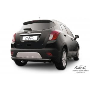 Защита заднего бампера Opel Mokka 2012 – 2016 (радиусная черная)