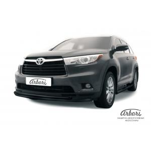 Защита переднего бампера Toyota Highlander 2013 – 2016 (двойная радиусная)