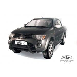 Передняя защита Mitsubishi L200 2006 – 2014 (низкая черная)