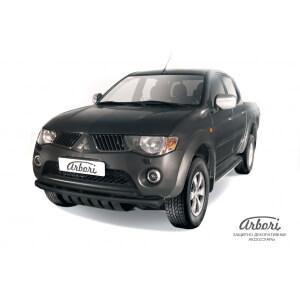 Защита переднего бампера Mitsubishi L200 2006 – 2014 (двойная черная)