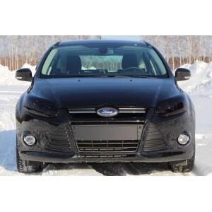 Защита передних фар Ford Focus 3 до рестайлинга (темная)
