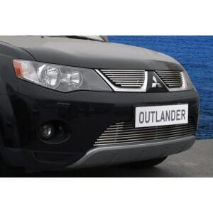Декоративные элементы решётки радиатора d10(2 эл. из 8 трубочек)Mitsubishi Outlander XL 2006-10 хром, MIOU.92.2271