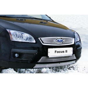 """Декоративный элемент воздухозаборника d10 (2 элемента: низ-4, верх-5 труб.) """"Ford Focus II"""" хром, FFOC.97.2146"""
