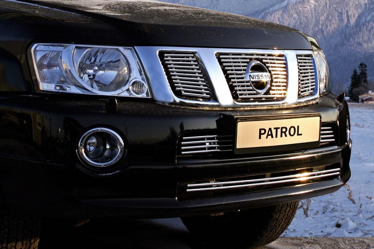 """Декоративные элементы воздухозаборника d10 (верх-2 по 4,низ-1 из 2 труб.""""Nissan Patrol"""" 2007-10 хром, NPAT.97.2141"""