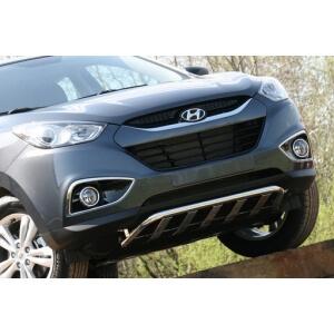 """Решетка передняя мини d42 низкая с защитой из профильной трубы """"Hyundai IX 35"""" 2010-, HYIX.57.1057"""