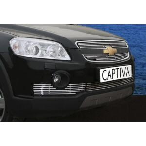 Декоративные элементы решётки радиатора d10 (2 эл. из 4 трубочек) Chevrolet Captiva 2006-2012 хром, CCAP.92.2261