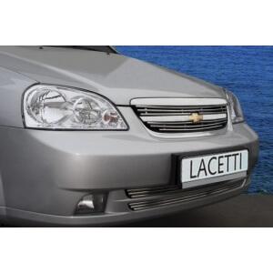 Декоративные элементы решётки радиатора d10 (2 эл из 3 трубочек) Chevrolet Lacetti седан 2004- хром, CLAC.92.2263
