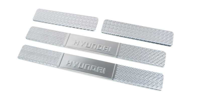 Накладки на пороги Hyundai Solaris 2011-2013 Carbon