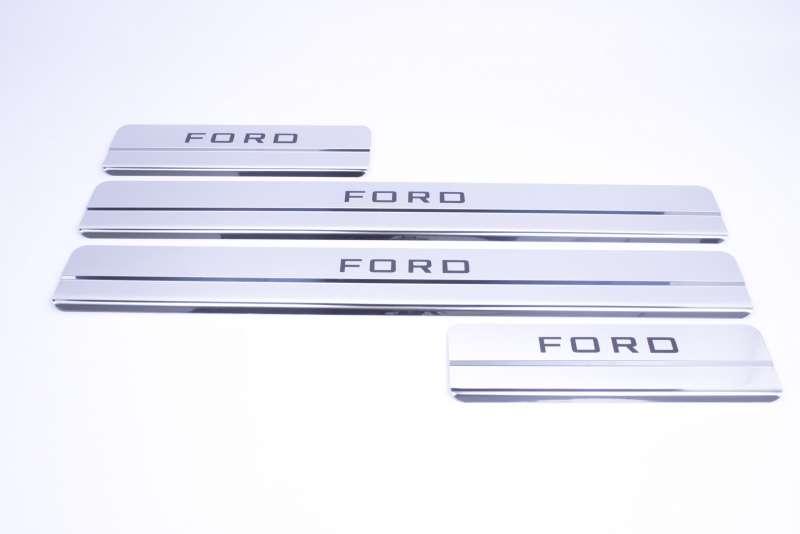 Накладки на пороги Ford Focus 2 Ступенчатые (над. краска), фото 3