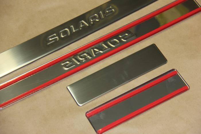 Накладки на пороги Hyundai Solaris 2014 - 2016 (над. solaris штамп)