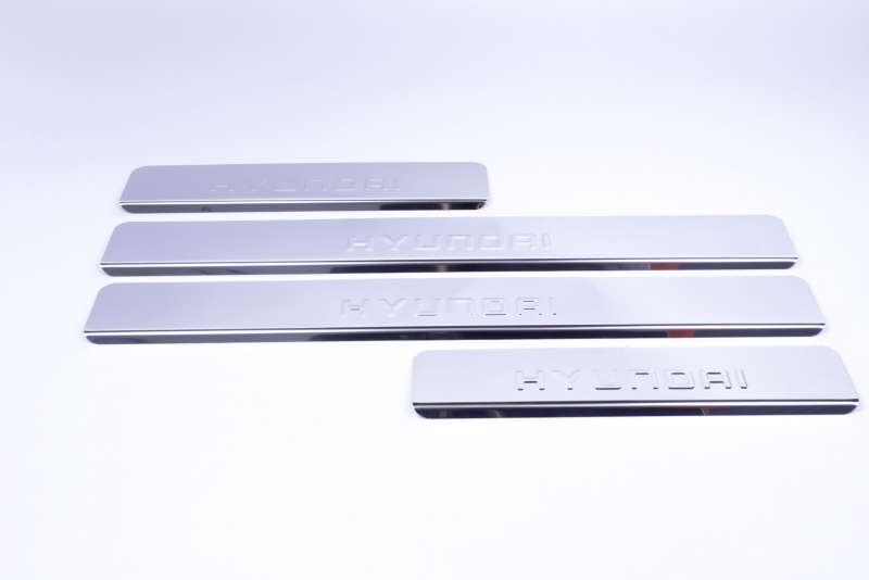 Накладки на пороги Hyundai Santa Fe DM (над. штамп), фото 2