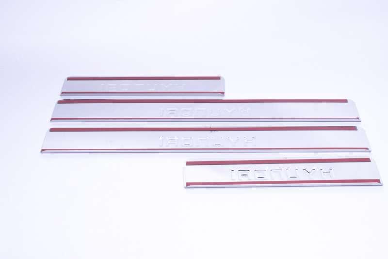 Накладки на пороги Hyundai Santa Fe DM (над. штамп), фото 3