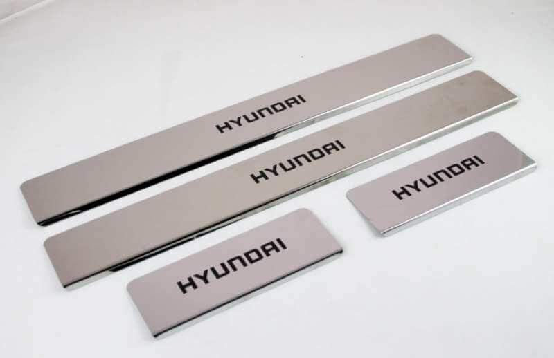 Накладки на пороги Hyundai Santa Fe 3 DM (над. краска), фото 2