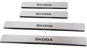 Накладки на пороги Skoda Rapid (над. краска)