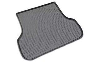 Черный коврик в багажник RENAULT Sandero 2010- 2014, хб. (полиуретан)
