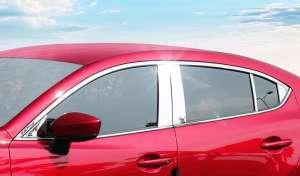 Хромированные молдинги на окна дверей Mazda 3 (2013-2016)